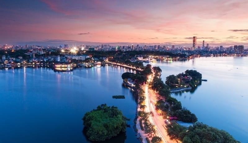 Beautiful sunset in Hanoi, the capital of Vietnam.