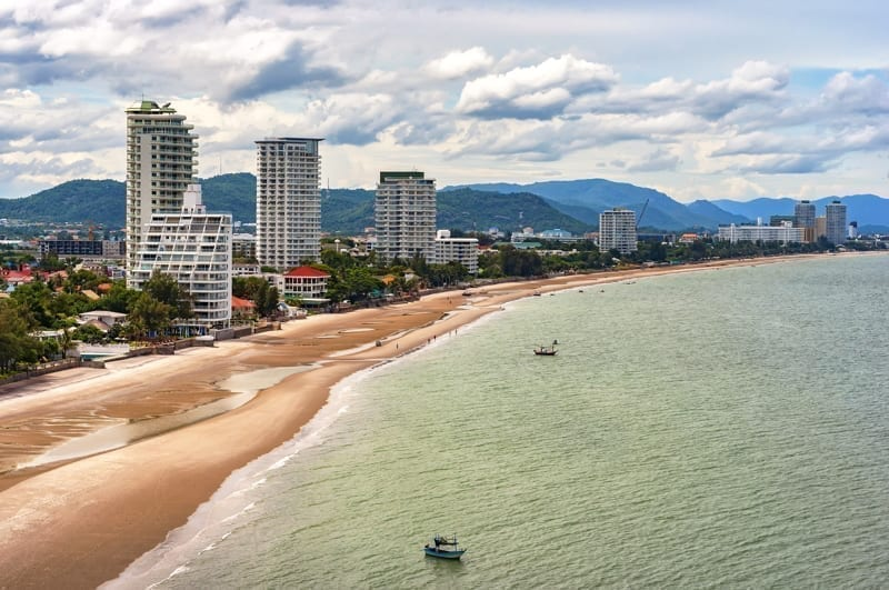 A cityscape view of Hua Hin and it's beach in Thailand.