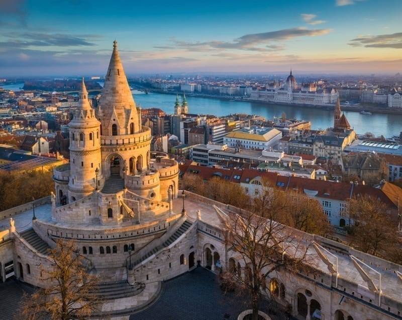 The stunning main tower of the famous Fisherman's Bastion in Budapest, Hungary on a sunny morning.