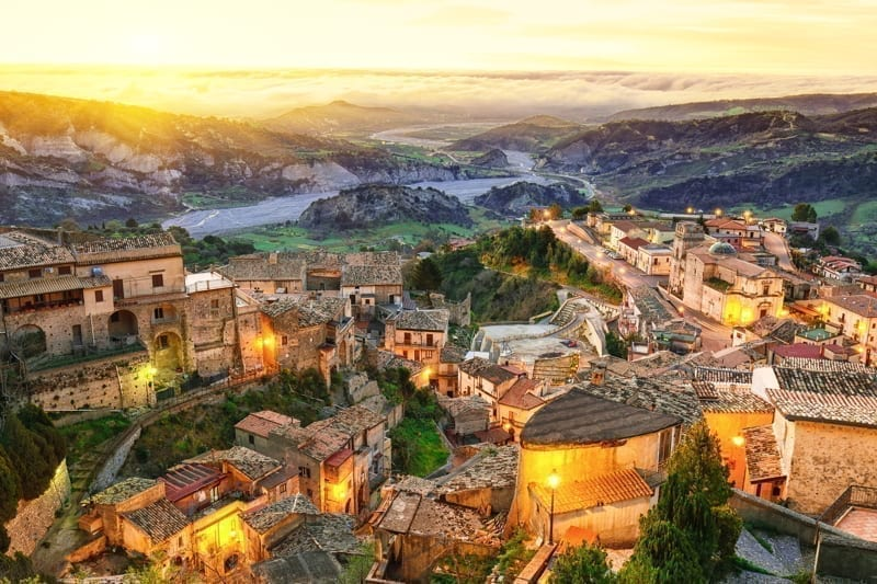 Sunrise over old famous medieval village Stilo in Calabria, Italy
