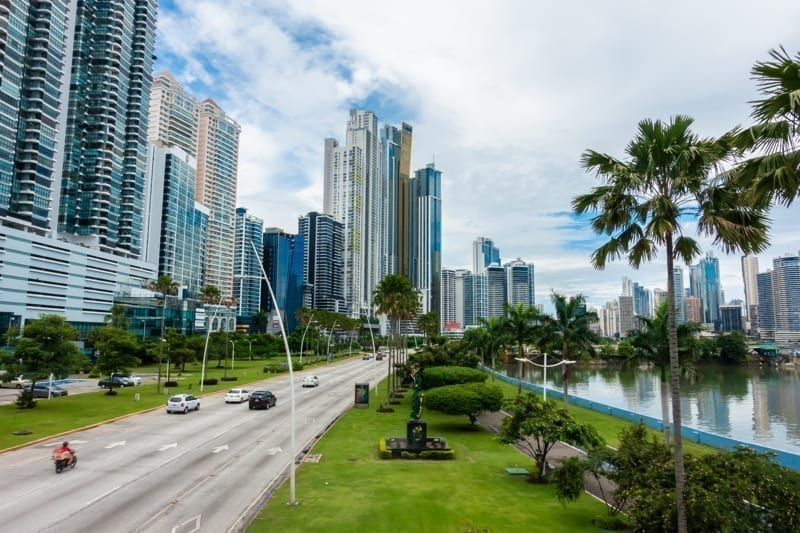 Gorgeous view of Panama City, Panama with skyscrapers and palm trees.