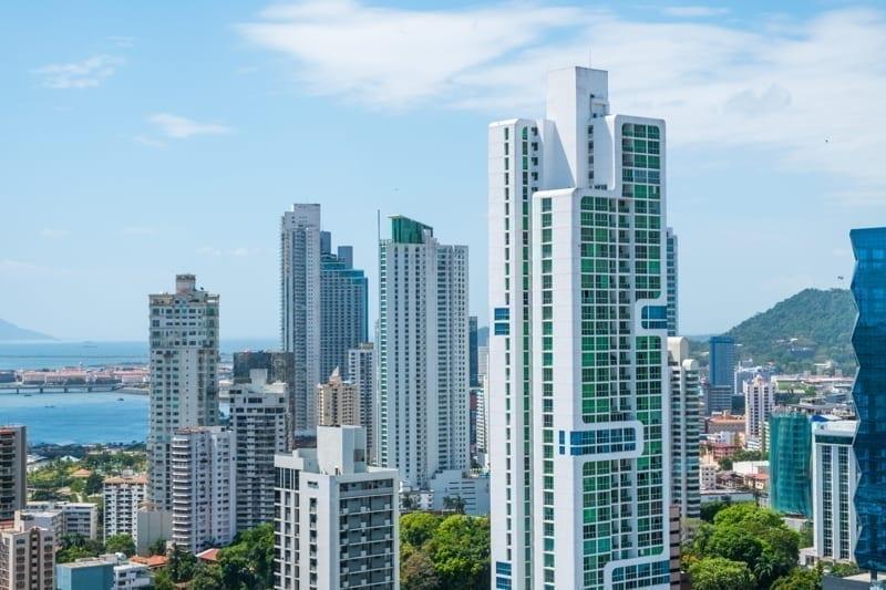 Skyscraper buildings in the modern cityscape of Panama City.