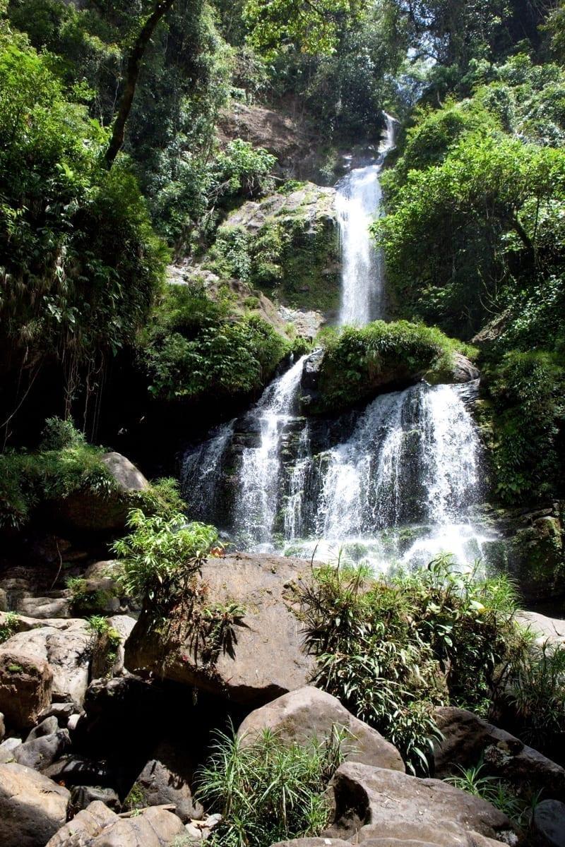 Waterfall in tropical rain forest in Santa Fe, Veraguas Province, Panama