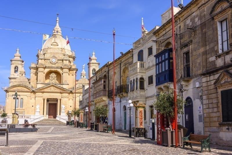 Nadur town center with its church, Gozo, Malta.