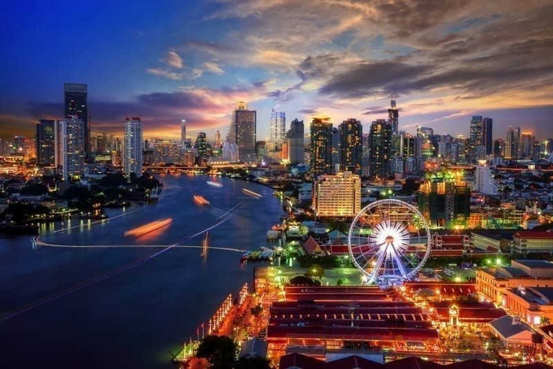 Bangkok night view in the business district at twilight