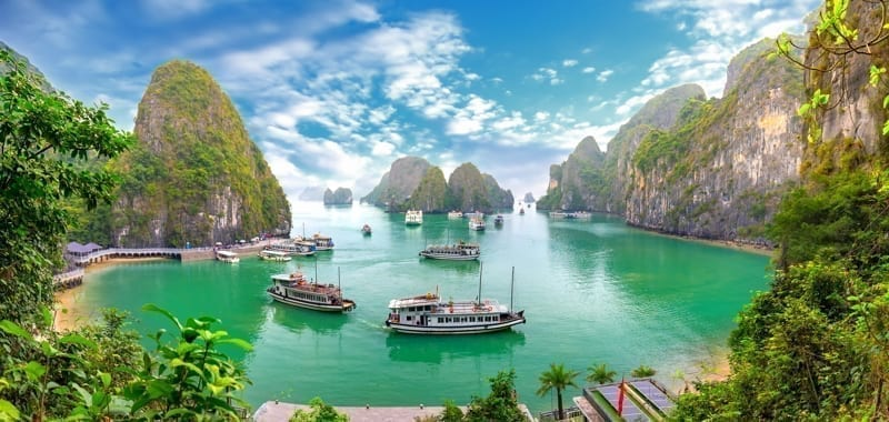 Stunning view of the Halong Bay in Vietnam, an UNESCO World Heritage Site.