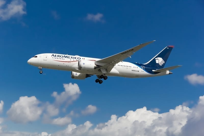 Aeromexico airline airplane boeing 787 dreamliner landing at London Heathrow International Airport