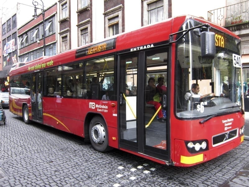 A downtown bus in Mexico City