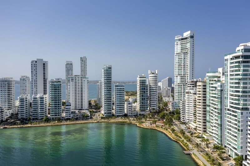 Aerial view of a skyline of skyscrapers in Cartagena's prestigious Castillogrande district