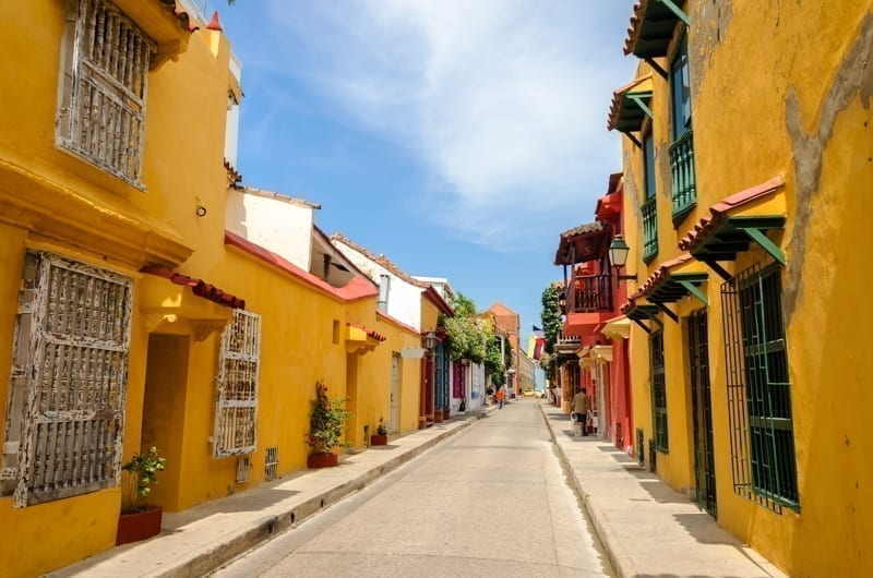 Typical street scene in Cartagena, Colombia