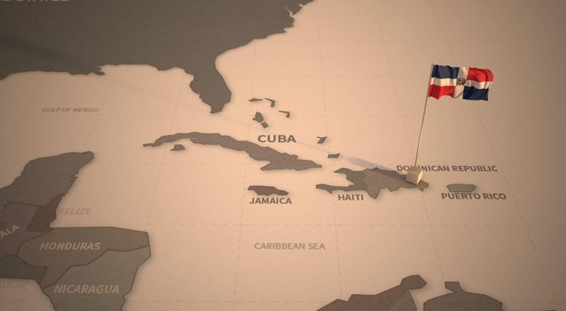 Flag on the map of Dominican Republic
