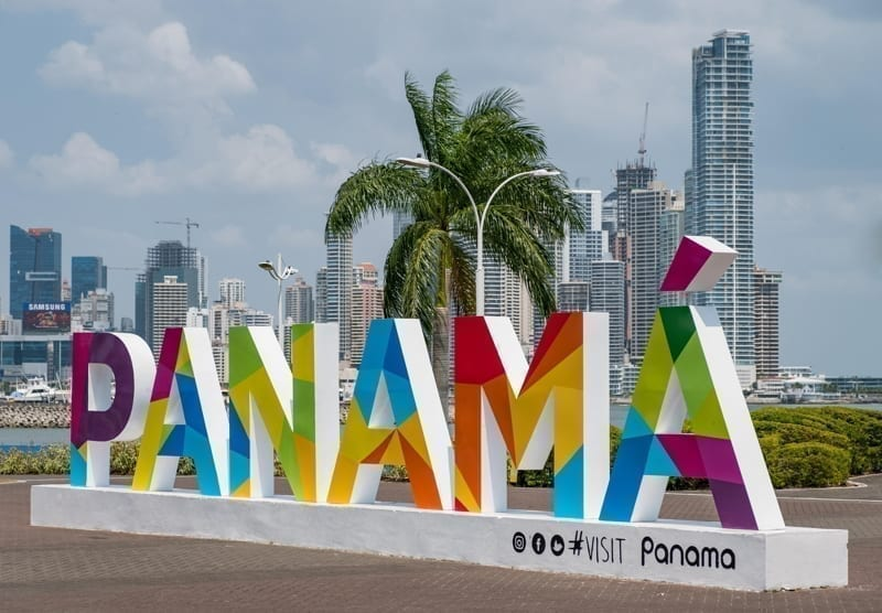 The famous Panama sign and the skyline of Panam City