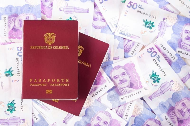 Colombian passport on Colombian money