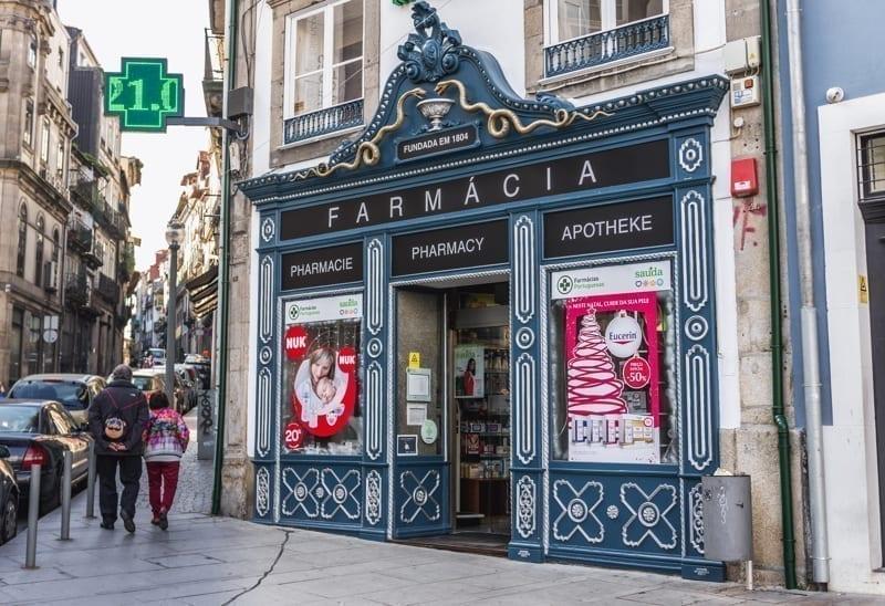 Pharmacy on Largo Sao Domingos street in Porto city on Iberian Peninsula, second largest city in Portugal