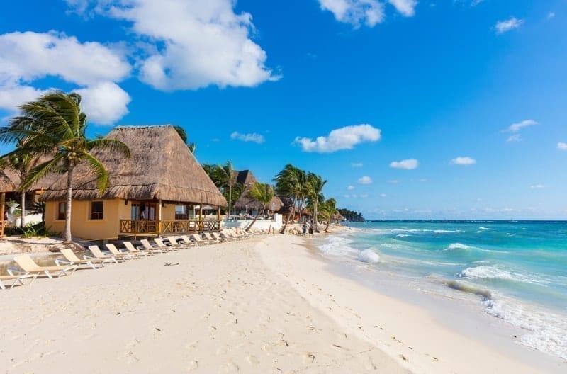 White sand beach in Playa del Carmen, Riviera Maya, Mexico.