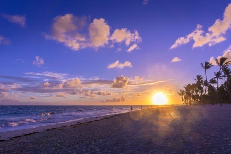 Sunrise on Bavaro beach near Punta Cana Dominican Republic
