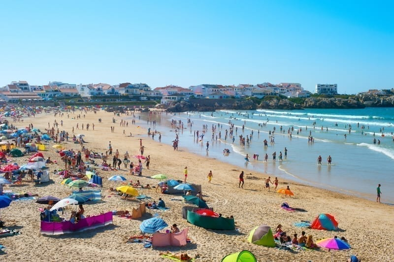 Crowded ocean beach in Portugal
