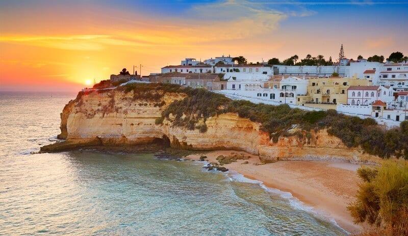 Sunset at Algarve coast, Carvoeiro, Portugal.