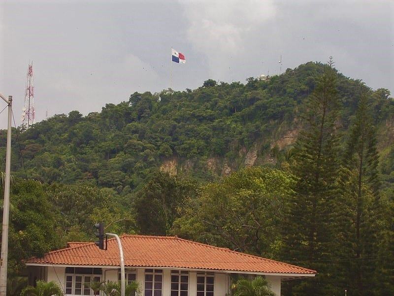 Flag of Panama on Ancon Hill seen from Balboa
