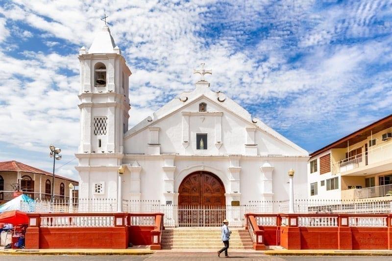 View at the facade of Church of Santa Librada in Las Tablas, Panama