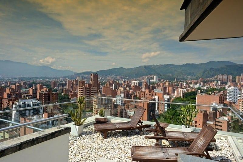 Rooftop of the Inntu Hotel in Laureles. Cityscape of Medellin