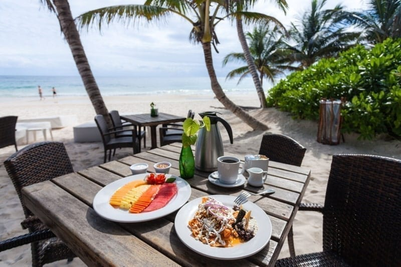Breakfast on the beach at Ziggy's Restaurant, Tulum, Quintana Roo, Mexico