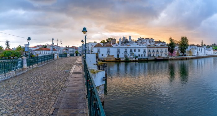 View of the old city center of historic Tavira