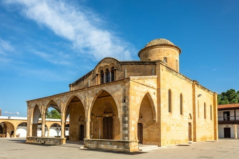 Agios Mamas church with bell tower, Guzelyurt, Morphou, North Cyprus