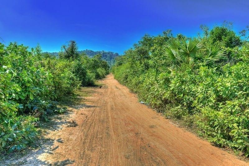 A dirt road in Cambodia