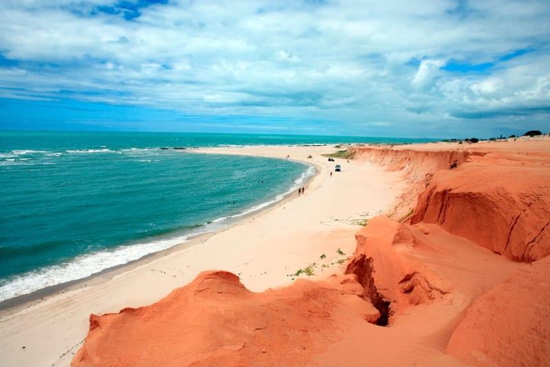 Red beach of Canoa Quebrada in Ceara atate, Brazil