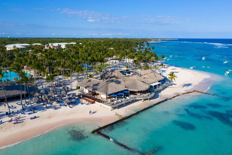 Aerial view of beautiful white sandy beach in Punta Cana, Dominican Republic
