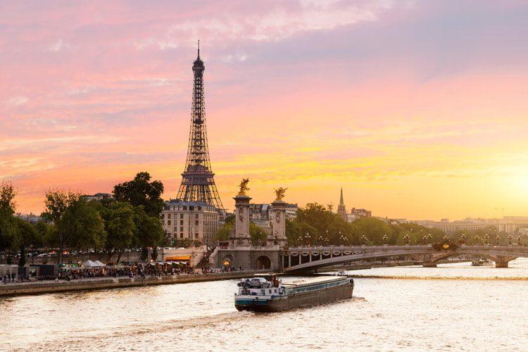 Sunset on Seine river in Paris