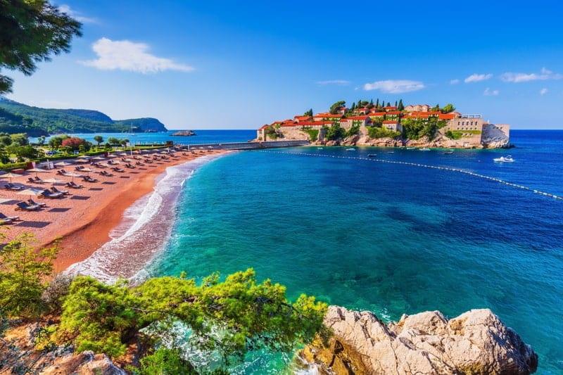 Old historical town and resort on Sveti Stefan, Montenegro.