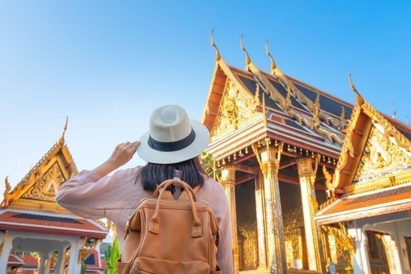 Tourist woman enjoy travel on Vacation in Bangkok at Thailand