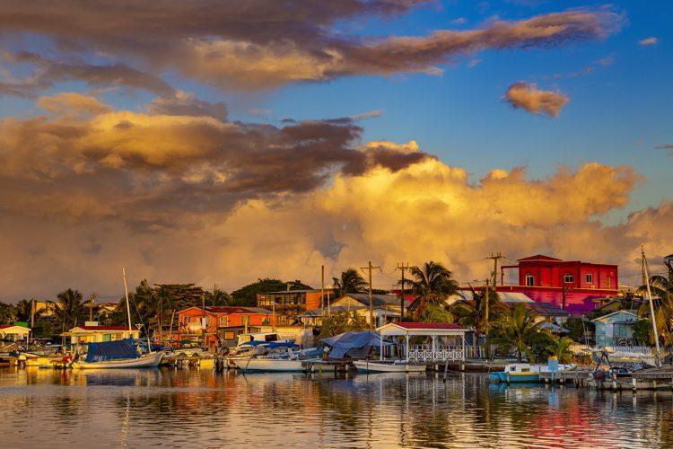 Sunset on San Pedro Town, Ambergris Caye Island