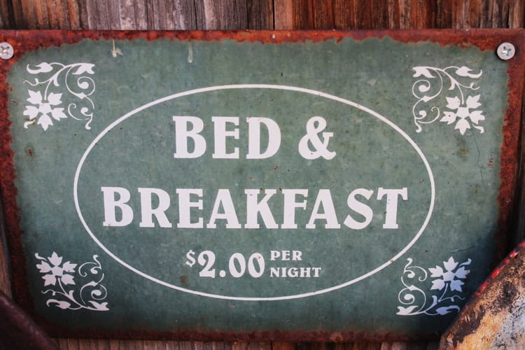 A bed and breakfast sign