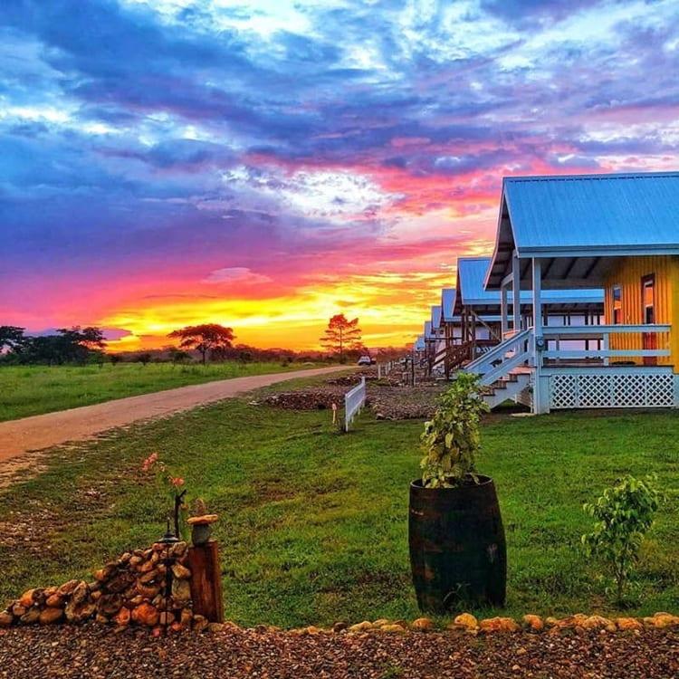 sunrise over Carmelita Gardens in Belize