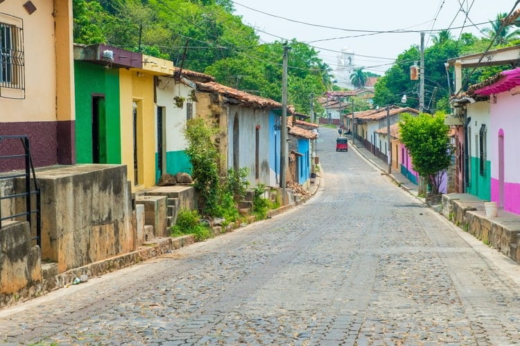 Street view of Suchitoto El Salvador with coloruful houses