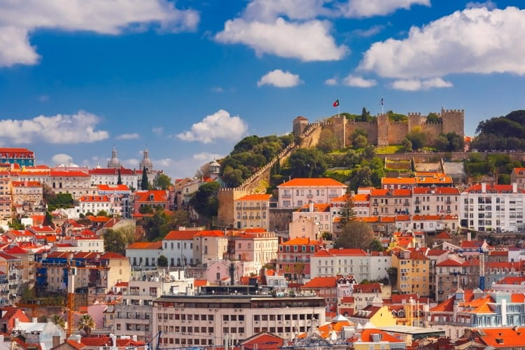Historical center of Lisbon on sunny day, Portugal.