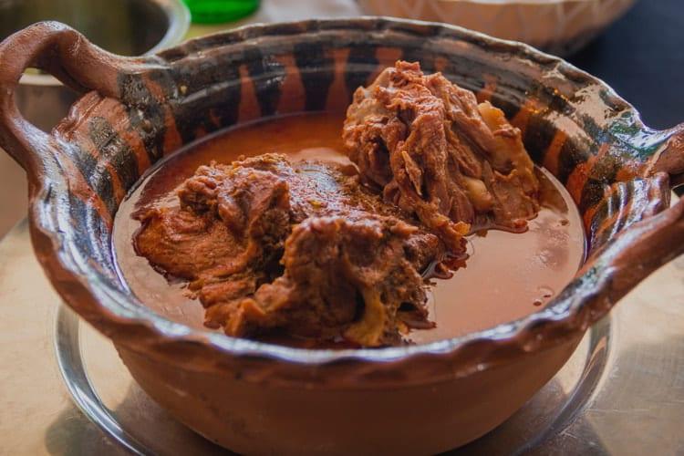 Traditional mole de hips or Huaxmole, typical dish of Tehuacán, Puebla