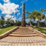 Obelisk in front of the Pink Cabildo, National Congress Museum in Asuncion, Paraguay