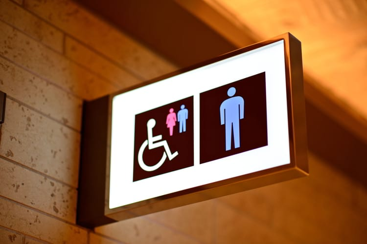 Sign for bathrooms