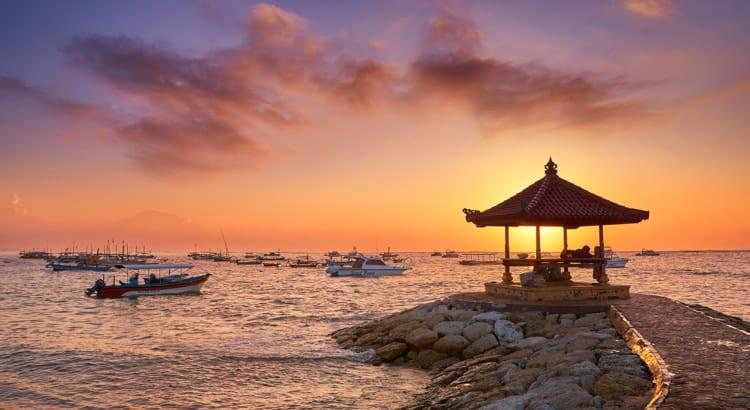 Sanur Beach at sunrise, Bali, Indonesia