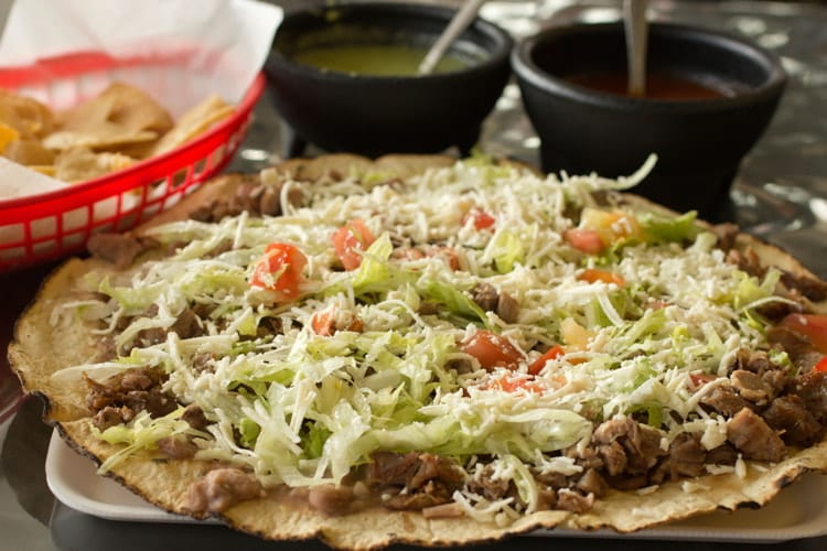 Tlayuda, Mexican dish, sometimes called Mexican Pizza