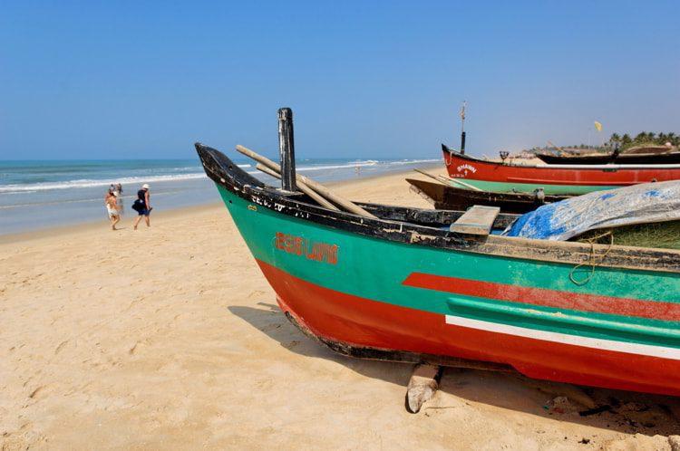 Fishing boats at Benaulim Beach South Goa, India