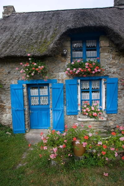 Attractive thatched French cottage blue door and shutters flowers window boxes