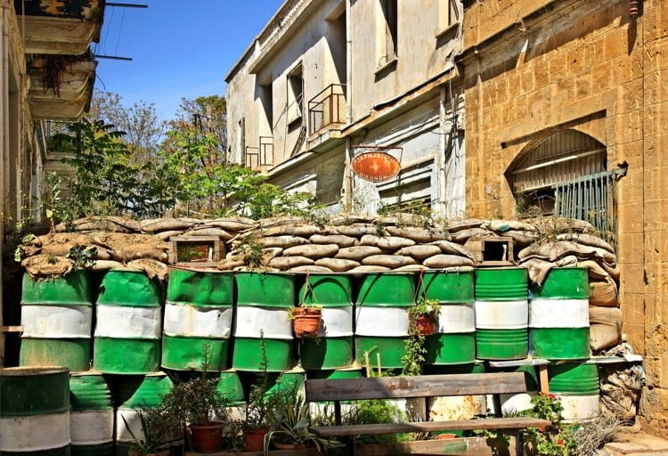 """Part of the """"Green Line"""" (""""Buffer zone"""" or """"Dead Zone"""") in the old town of Lefkosia, Nicosia, the last divided capital in the world"""