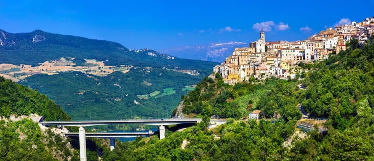 Impressive panoramic view of the Colledimezzo village in Abruzzo, Italy