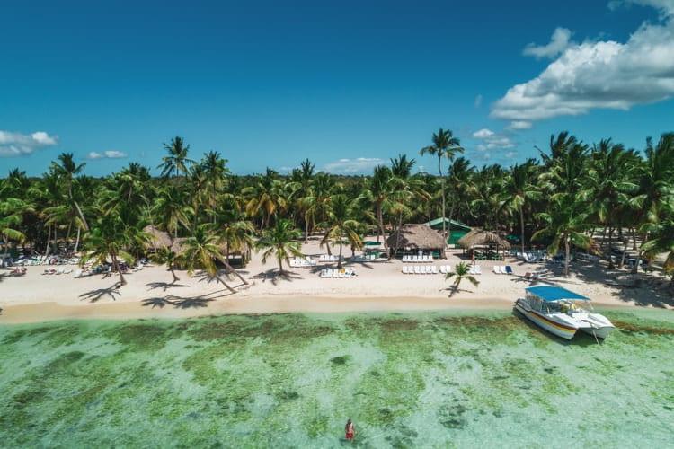 Aerial view of tropical island beach, Dominican Republic.