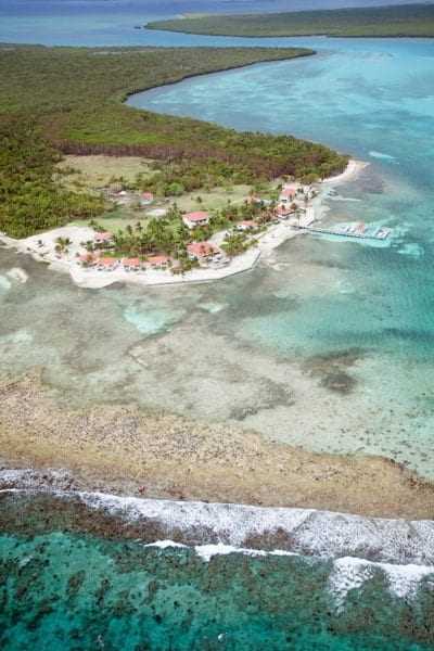 Aerial shot of Turneffe Atoll in Belize